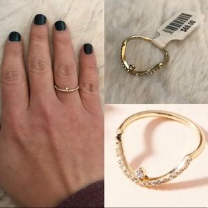 NWT anthropologie curved rhinestone delicate ring